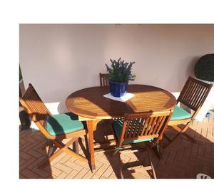 Tavolo in legno da esterno con 6 sedie e cuscini in ottimo s