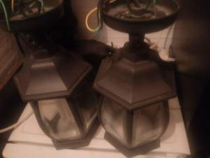 Coppia lampadari in ferro battuto