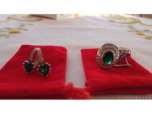 Orecchini zirconi bianchi e pietre verdi