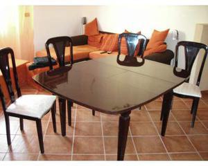 Vintage Tavolo da pranzo allungabile noce completo 4 sedie
