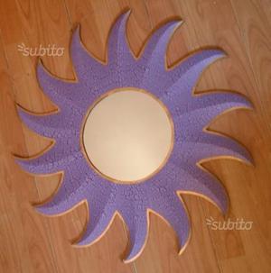 Due Specchi etnici viola a forma di sole 60 cm