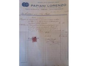 Fattura Faenza  Premiata ditta Papiani Lorenzo... rame