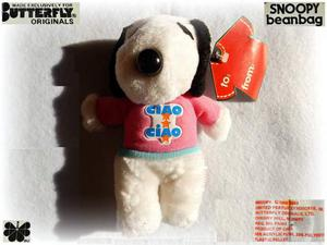 SNOOPY Peanuts VINTAGE  peluche BEAN BAG Butterfly