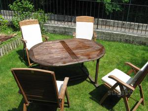 Tavolo da Giardino robinia con 4 sedie reclinabili