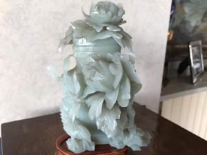 Antichità vaso cinese in giada grigia/verde metà XX secolo