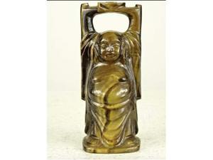 Antichità scultura cinese di Buddha felice in occhio di