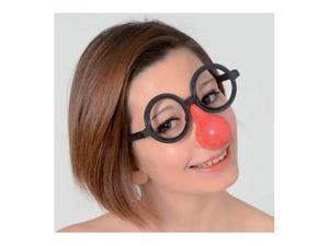 Occhiali con naso clown rosso in plastica carnevale teatro