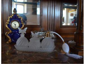 Set da bagno in vetro vintage modernariato bottiglia profumo