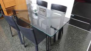Tavolo Cristallo 4 Sedie.Tavolo Cristallo E 4 Sedie Moderne Legno Ciliegio Posot Class