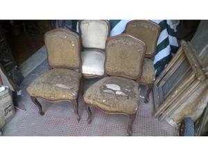 Gruppo di 4 sedie in noce massello dell 800