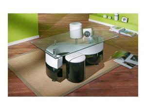 Tavolino da salotto bianco lucido e nero lucido