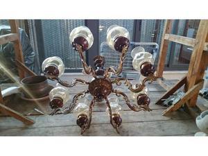 lampadario centenario in legno con campane di vetro