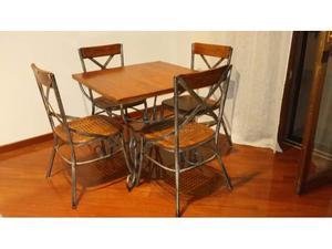 Set tavolo e sedie in ferro e legno