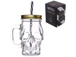 Vendo bicchiere in vetro a forma di teschio con cannuccia