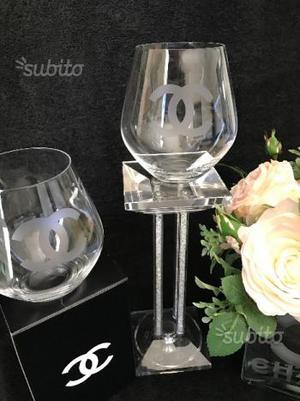 Set Di 2 o 4 bicchieri di cristallo Chanel