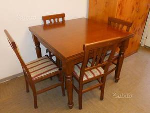 Tavolo arte povera in legno massello + 4 sedie