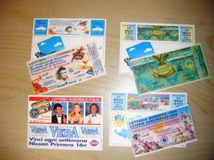 Biglietti lotteria cartoline abbinate