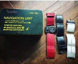 Orologio nautica 3 cinturini bussola cronometro
