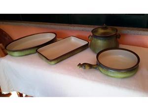 Set di pirofile e tegami in porcellana verde (4 pezzi)