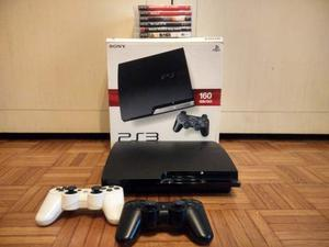 Playstation 3 Slim 160 Gb + 2 Controller + 6 Videogiochi