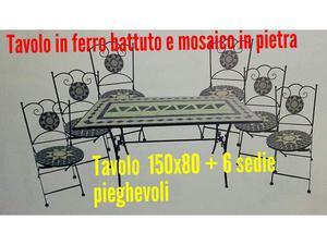 Tavolo in pietra e mosaico in ferro battuto