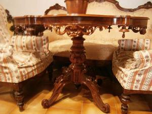 Tavolo salotto noce Luigi Filippo