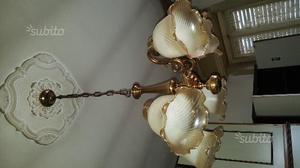 2 lampadari in ottone e cristallo satinato