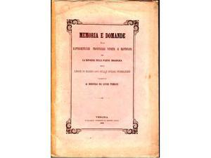 Memoria rappresentanze provinciali venete riforma idraulica