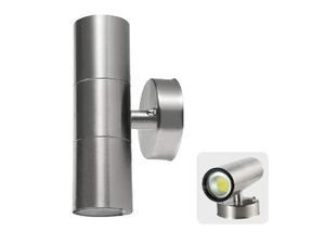 Applique a led in acciaio cilindro doppio fascio luce up e