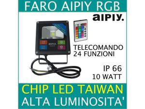 Faretto faro led 10w slim rgb aipiy alta luminosita