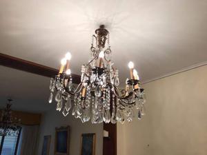 Lampadario in ottone con gocce di cristallo
