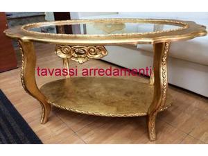 Tavolino x salotto oro foglia