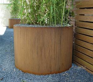 Vaso circolare in acciaio Corten DM 80 cm H 60 cm