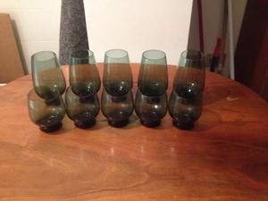 Servizio bicchieri acqua e vino in cristallo verde anni 60