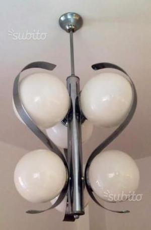 Lampadario di modernariato anni 70 vetro/metallo