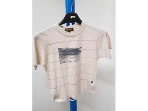 T shirt bambino timberland bianco scritte blu