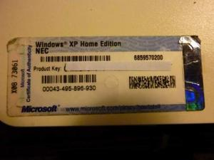 Stikers con KEY number windows XP HOME EDITION