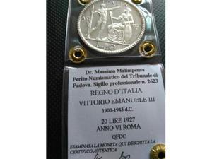 """20 lire """"Littore"""" V.E. III  - qFDC!"""