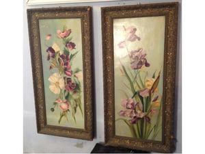 Coppia di quadri a olio con fiori Liberty