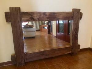 Specchio vintage in legno rovere