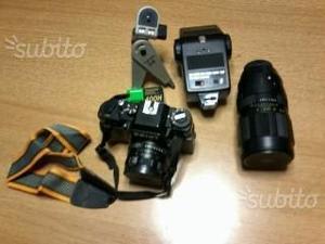 Set fotografia con teleobbiettivi flash cavalletto