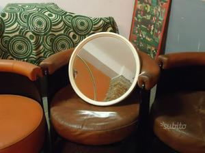 Specchio tondo bianco, anni 70 vintage