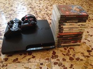 Ps4 slim 320 giga+14 giochi+2 controller
