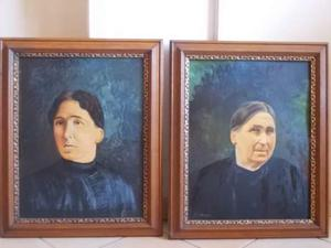 2 grandi ritratti femminili a olio firmati Braida