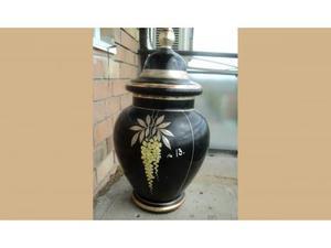 Vaso in pasta di vetro dipinto in oro 39x20