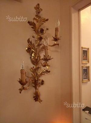 Applique candelabro ferro battuto foglia oro