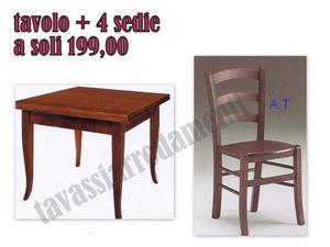 Tavolo massello + 4 sedie noce scuro