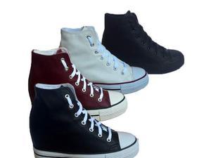 Scarpe sneakers lacci alte zeppa nascosta sportive