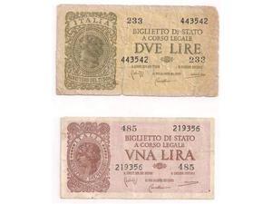 Banconota 1 lira e 2 lire