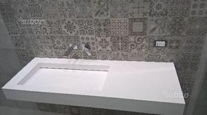 Lavabo in corian sospeso con scarico a scomparsa